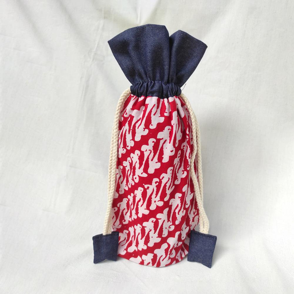Red Batik with Denim Wine Bottle Wrapper